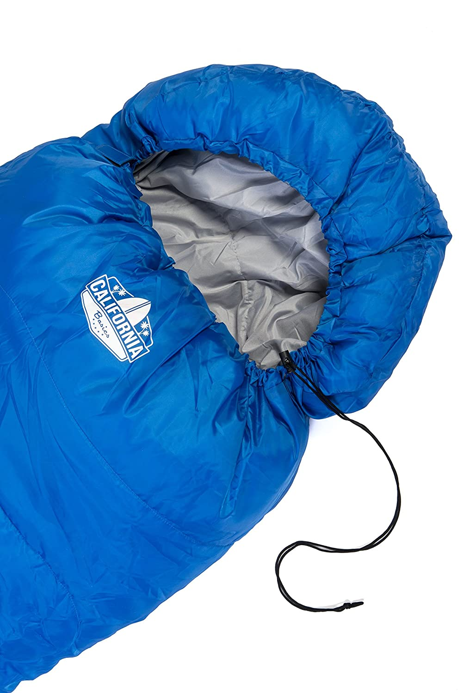 California Basics 3 4 Season 400GSM Mummy Sleeping Bag With Water Resistant Shell Drawstring Hood And Draft Collar For Camping Hiking Outdoors