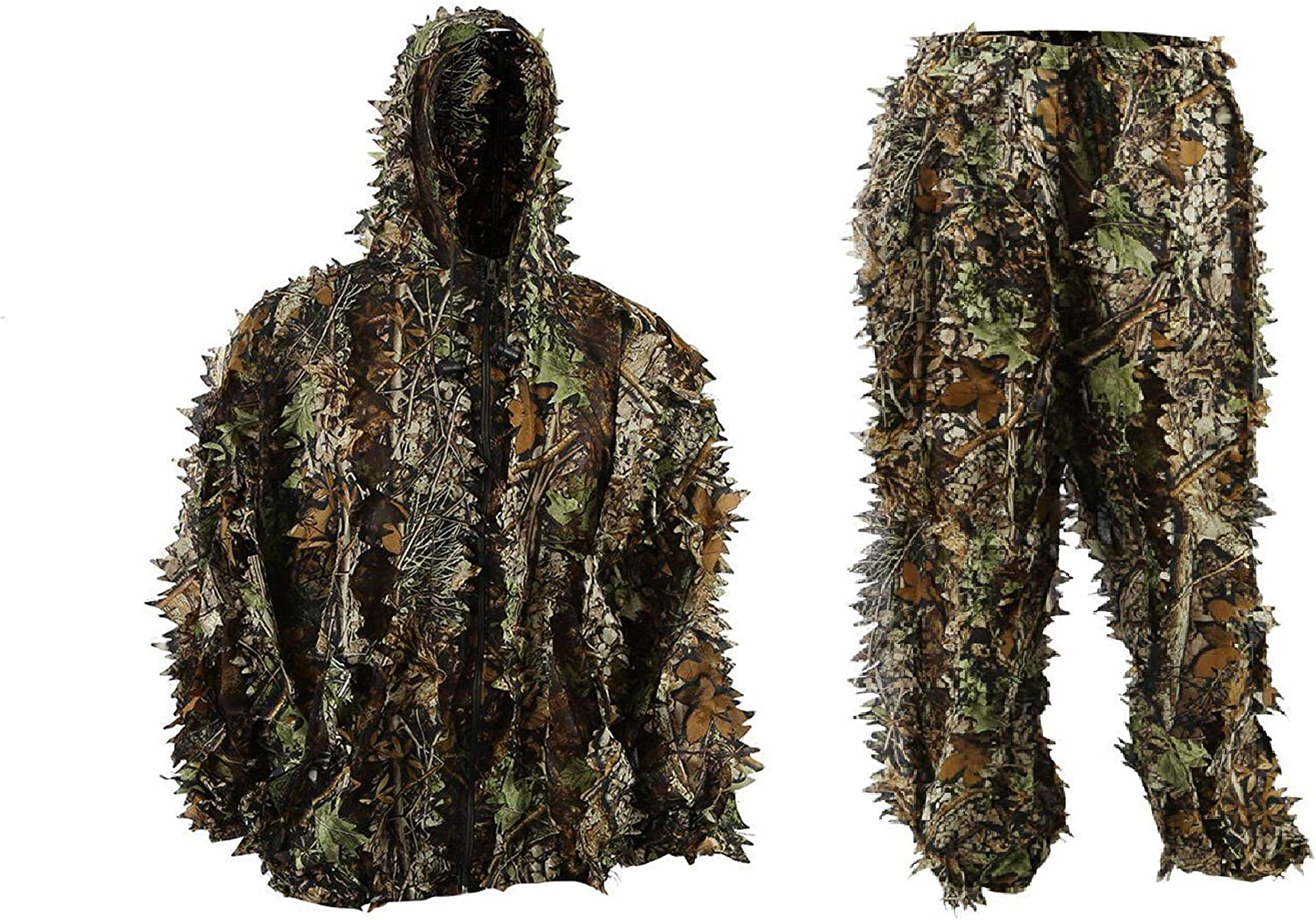 EAROOMZE Men's 3D Lightweight Hooded Camouflage Ghillie Breathable Hunting Suit