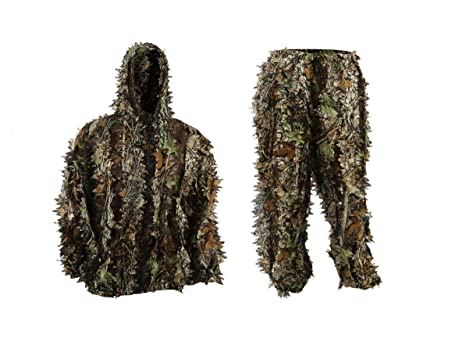 999f8366d3b11 Image Unavailable. Image not available for. Color: EAROOMZE Mens 3D  Lightweight Hooded Camouflage Ghillie Breathable Hunting Suit
