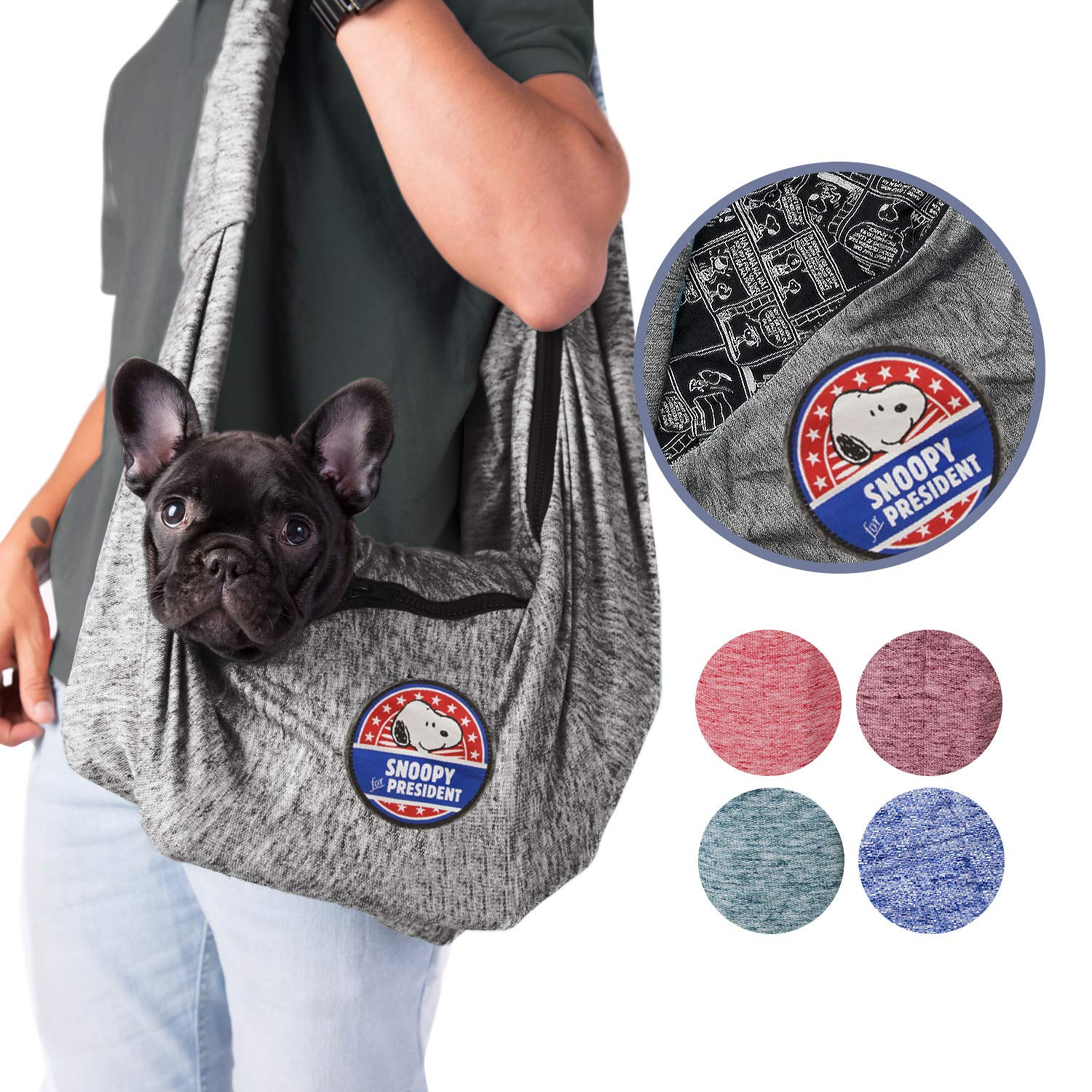 Graphite Zoozpets Peanuts Dog Sling   Carrier Snoopy Soft Pouch & Comfy Strap Dog Carrier   Exclusive Bag Design for Puppy, Small Dogs, Cat & Pets   Enjoy Your Charlie Brown Pet Sling Everywhere You Go