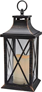 "YAKii 14"" Decorative Candle Lantern LED Flameless Candle Timer, Plastic LED Candle & Holder, Indoor & Outdoor Hanging Lights Thanksgiving &Christmas Day Decorations (Antique Copper Brushed)"