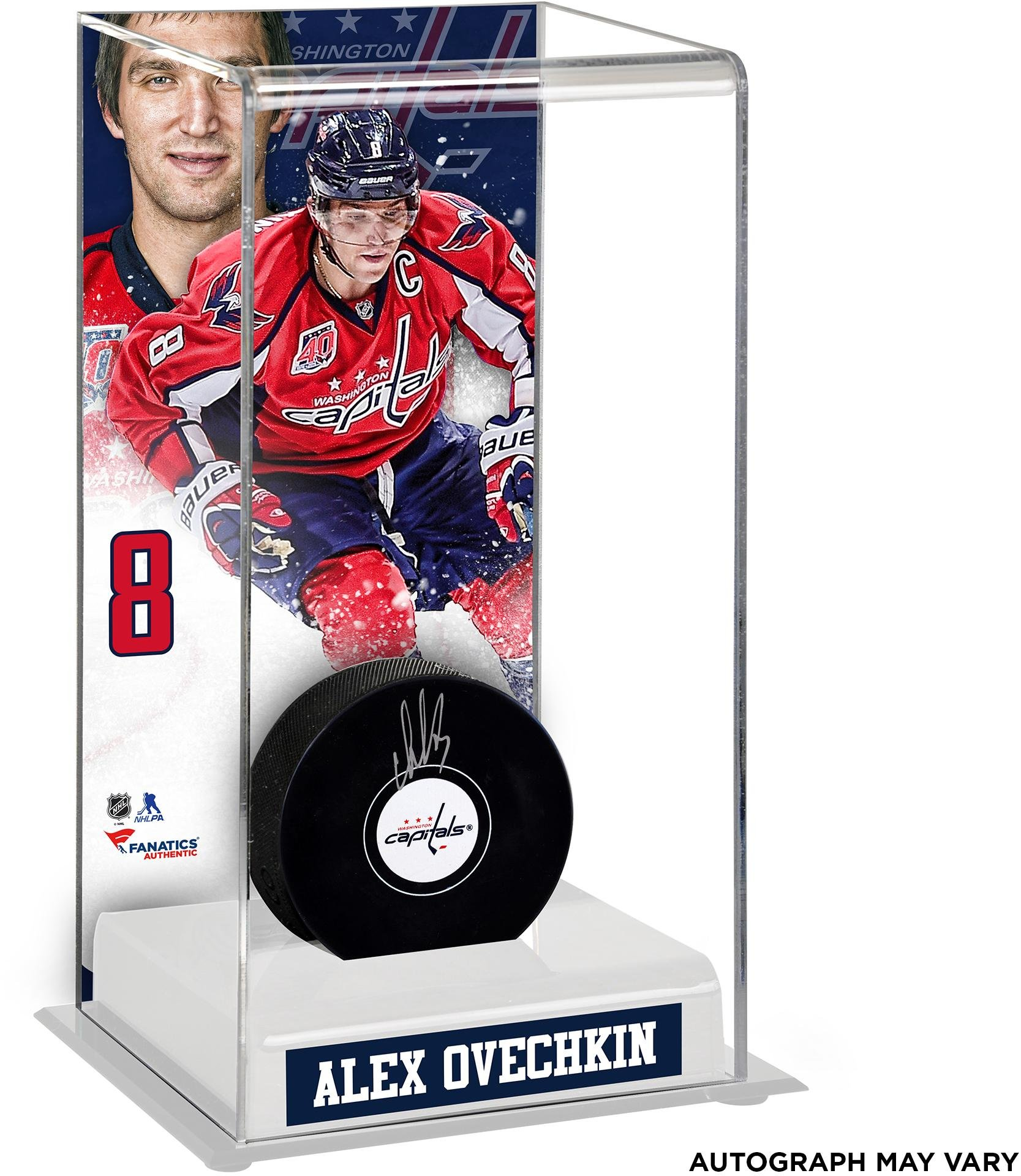 Alex Ovechkin Washington Capitals Autographed Puck with Deluxe Tall Hockey Puck Case Fanatics Authentic Certified