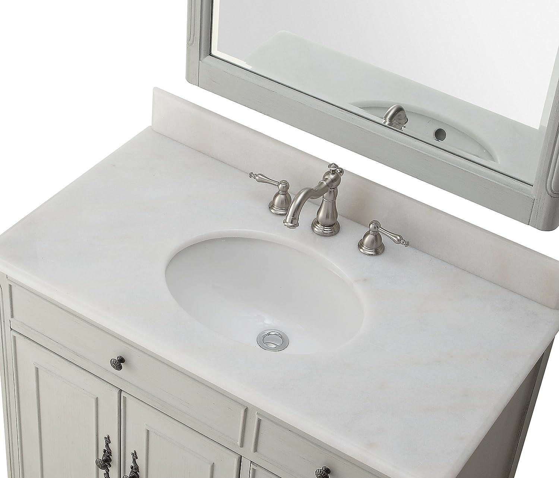 Daleville 34 inch vanity hf081wp distressed cream - 34 Bentonn Collection Cottage Look Daleville Bathroom Sink Vanity Model Hf081 Ck Distressed Grey Amazon Com