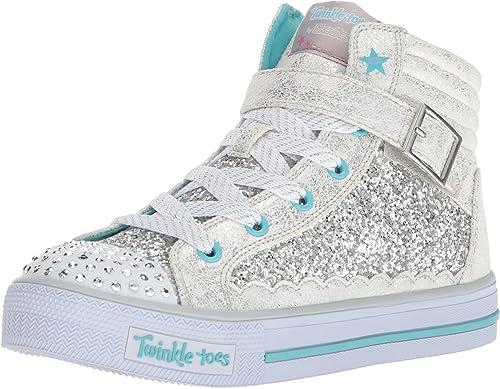 Sufijo fuga de la prisión creer  Skechers Kids Girls' Shuffles-Glitter Girly Sneaker, Silver/Turquoise, 4  Medium US Big Kid: Amazon.co.uk: Shoes & Bags