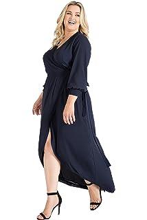 687e0bda4d4 Standards   Practices Plus Size Women s Blue Tulip High Low Chiffon Wrap  Dress
