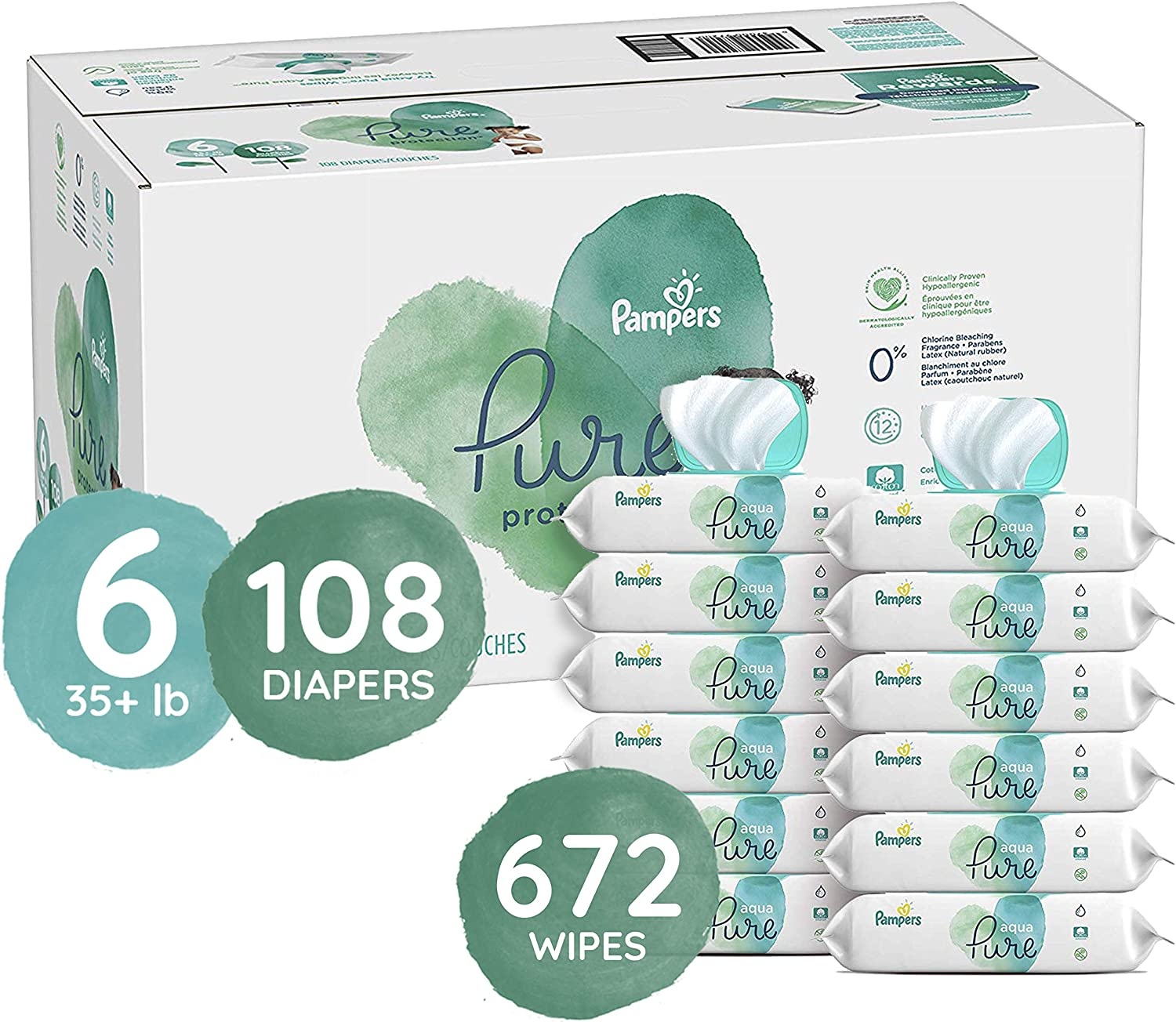Diapers Size 6, 108 Count and Baby Wipes - Pampers Pure Protection Disposable Baby Diapers, ONE MONTH SUPPLY with Pampers Aqua Pure Sensitive Wipes, 12X Pop-Top Packs, 672 Count (Packaging May Vary)