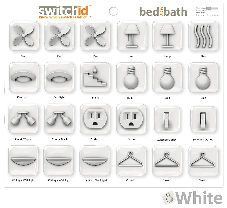 switchidベッドとバススイッチラベルとデカール識別子 3D ホワイト SBB3DW B077SYD11D 3D|ホワイト ホワイト 3D