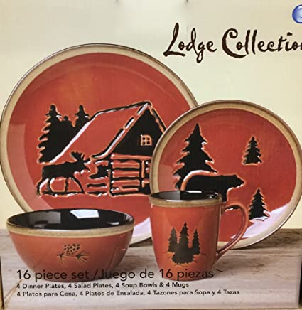 Clay Art LODGE Dinnerware Set - Service For 4 - Features Moose Rustic Cabin & Amazon.com | Clay Art LODGE Dinnerware Set - Service For 4 ...