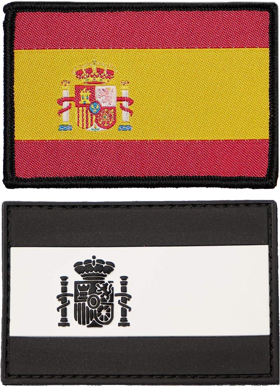 2 Parches bordados bandera España con Velcro - Color y Fluerescente - Escudos bordados - 2 Insignias - Parches Militares - 75 x 50 mm: Amazon.es: Hogar