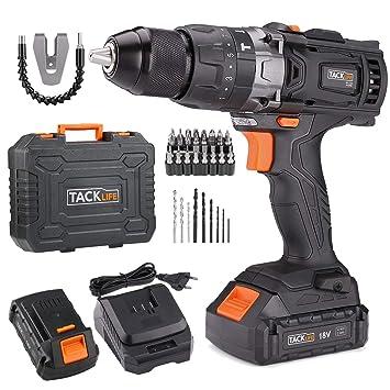 Tacklife - Taladro atornillador inalámbrico 18 V, 2 velocidades, con martillo y 2 baterías de ion de litio (2,0 Ah), portabrocas de metal 13 mm, par ...