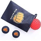 Massageball Set für Sportler - Zwei (2) Vollgummi Massagebälle + Ein (1) Igelball mit Noppen + Praktische Reisetasche