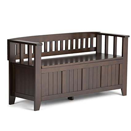 simpli home acadian solid wood entryway bench rich tobacco brown - Entryway Bench