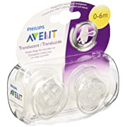 Philips AVENT Translucent Orthodontic Infant Pacifier, Clear, 0-6 Months, 2 Count