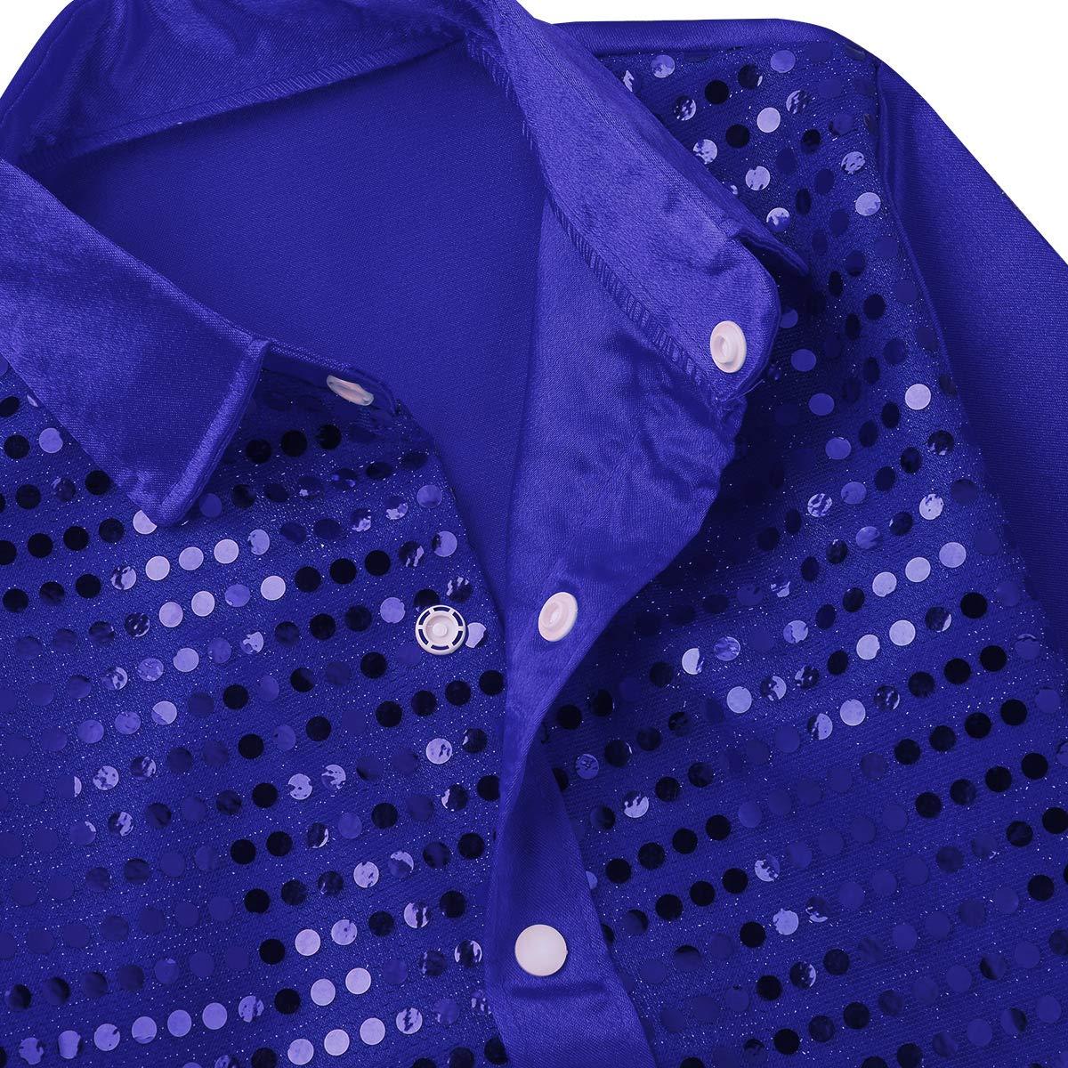 JEATHA Kids Boys Long Sleeves Lapel Shiny Sequins Shirts Hip Hop Jazz Latin Street Dancing Stage Performance Costumes