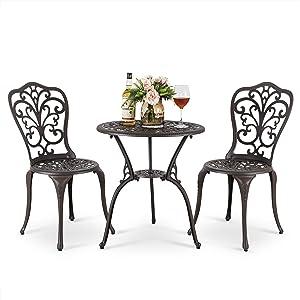 Nuu Garden 3 Piece Bistro Table Set, 24 inch Patio Café Table with Umbrella Hole Cast Aluminum Outdoor Patio Furniture-Dark Bronze