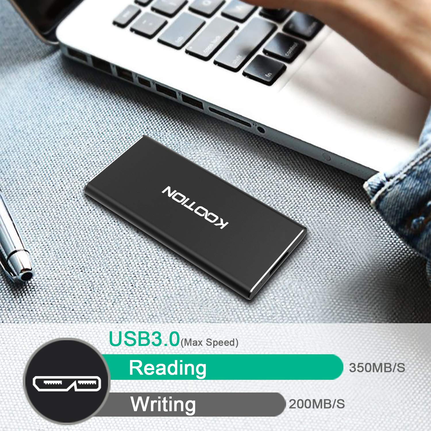 KOOTION 60GB Portable External SSD USB 3.0 High Speed Read & Write up to 400MB/s&300MB/s External Storage Ultra-Slim Solid State Drive for PC, Desktop, Laptop, MacBook by KOOTION (Image #2)