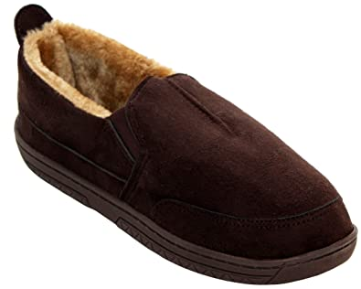 6a54361362b NEW MENS COMFORT FUR LINED LIGHTWEIGHT WARM WINTER FAUX MOCCASIN SLIPPER  SHOES SIZE UK 7-12