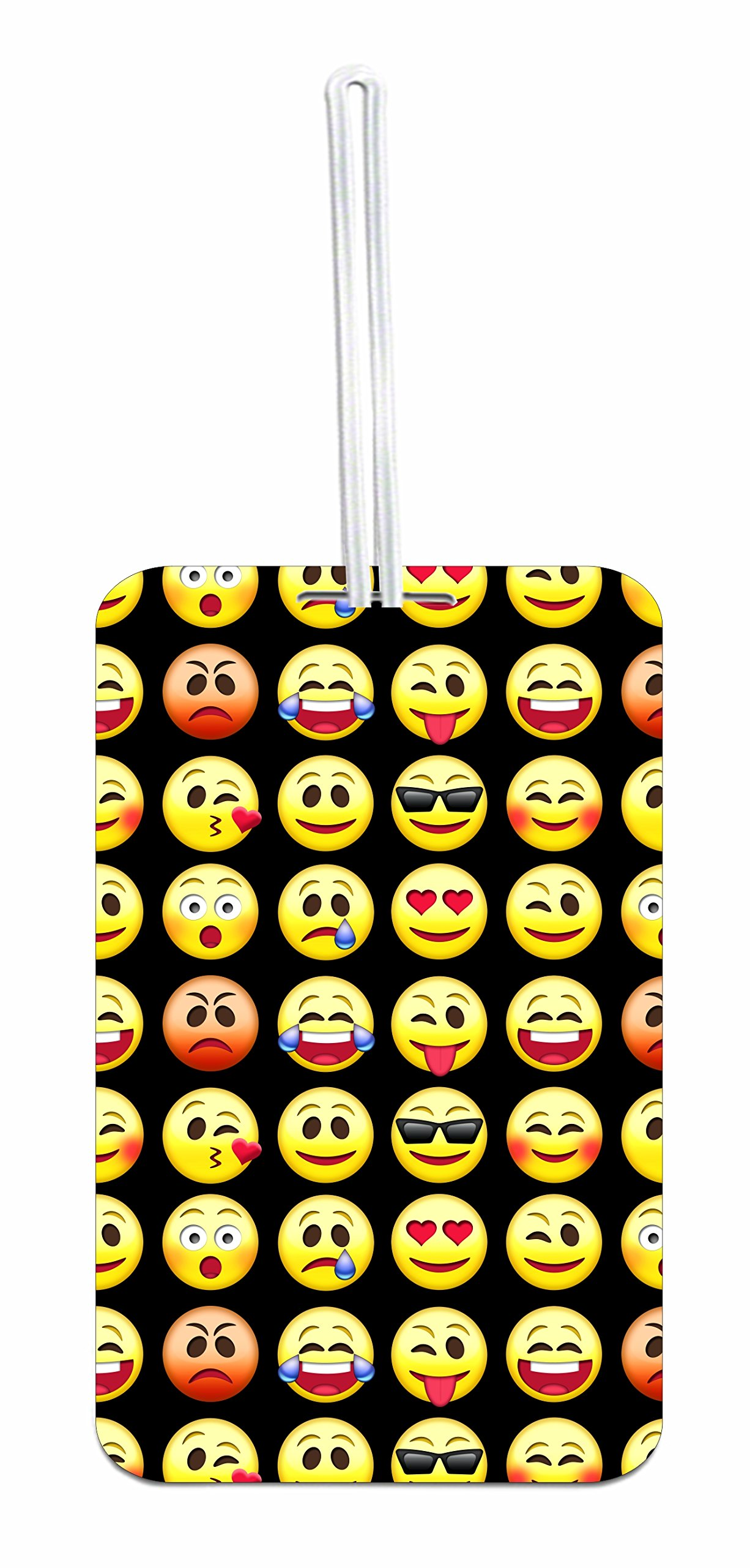 Yellow Emoticons Hard Plastic Luggage Tag with Personalized Back