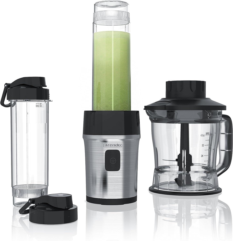 arendo - Batidora de Vaso 2en1 Mixer - Smoothiemaker - Capacidad 1,2l Incl. 2X 0,57l envases - 700W - Liquidador lavavajillas Seguro - Sin BPA