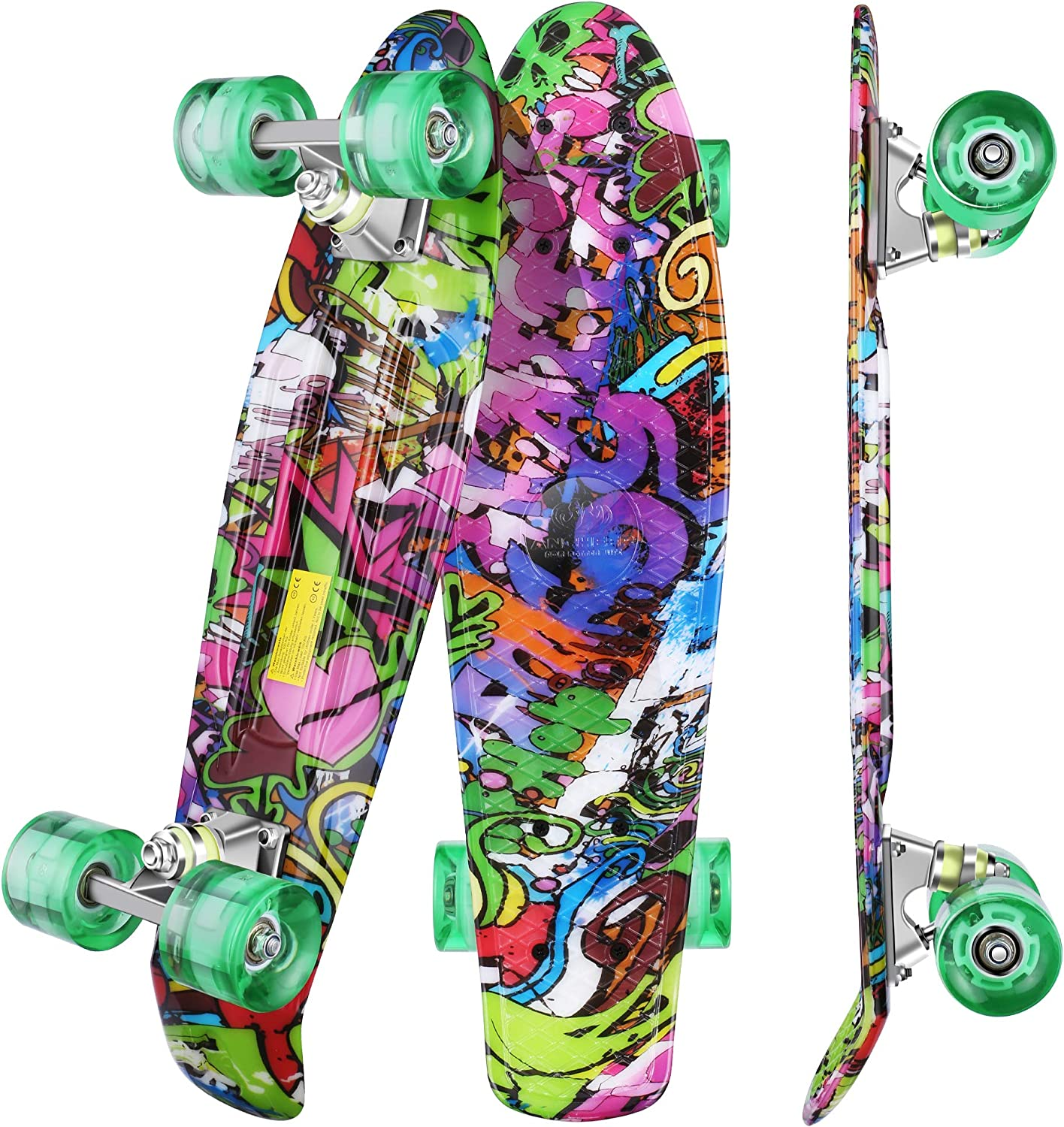 WeSkate Complete Mini Cruiser Skateboard 22 inch 2 inch Retro / UK