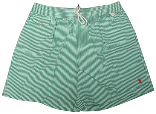 b150bd88bcd60 Image Unavailable. Image not available for. Color: Polo Ralph Lauren Mens  Seersucker Swim Trunks Green and White Stripes ...