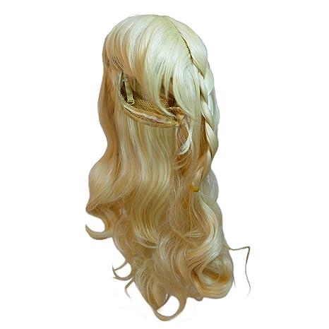 Katara - Peluca de Princesa Elsa de Frozen, accesorio de disfraz de carnaval - color