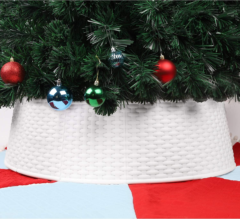 Blissun Christmas Tree Ring, Plastic Christmas Tree Collar, Christmas Tree Skirt for Artificial Christmas Trees Decoration (White)