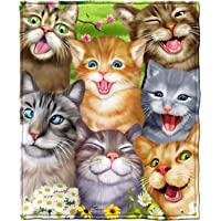 "Dawhud Direct Super Soft Full/Queen Size Plush Fleece Blanket, 75"" x 90"" (Cats Selfie)"