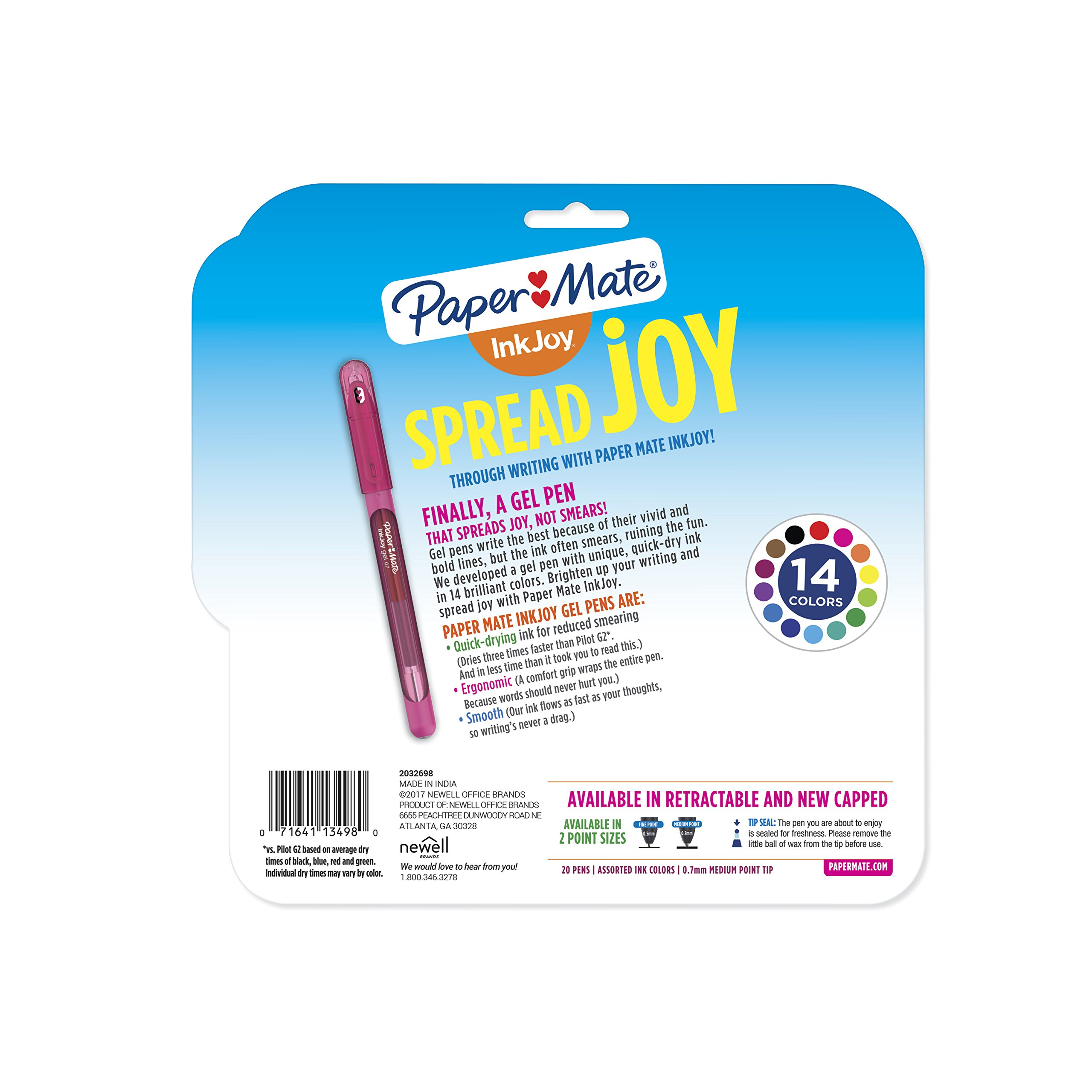 Paper Mate InkJoy Gel Pens, Medium Point (0.7mm) Capped, 20 Count, Assorted Colors (2023018) by Paper Mate (Image #8)
