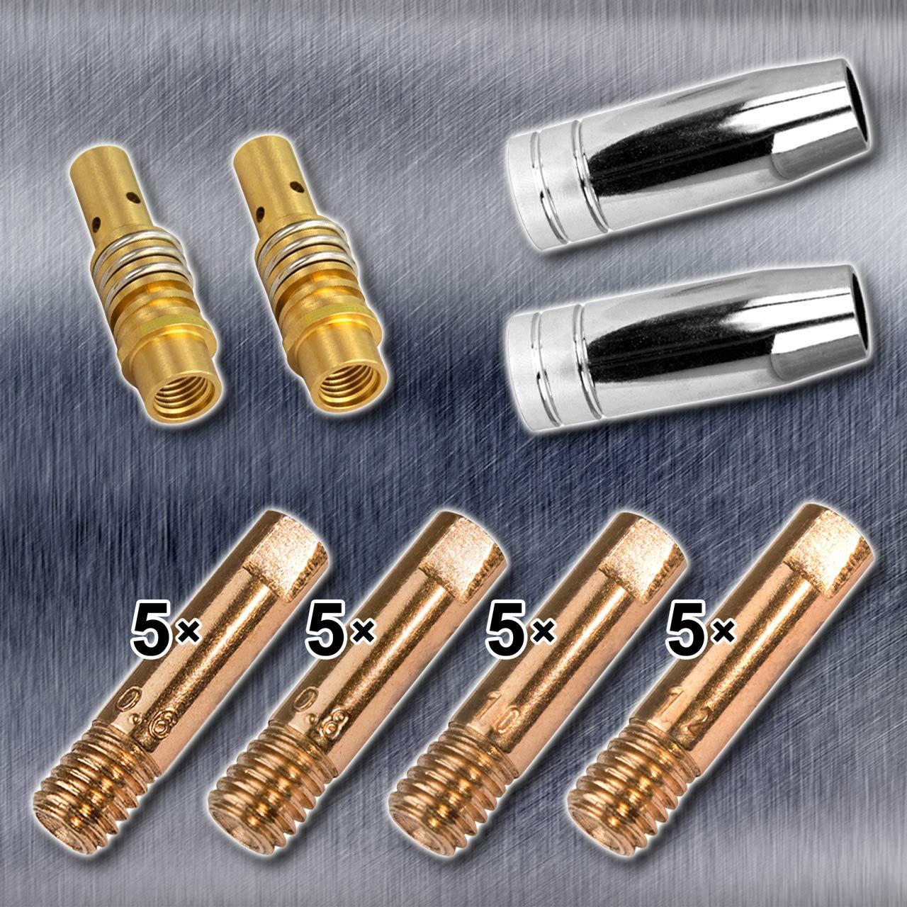STAHLWERK MIG MAG AK-15/MB-15 - Juego de accesorios de soldadura (24 piezas, piezas de desgaste, boquillas de gas y boquillas de corriente para quemador MIG ...