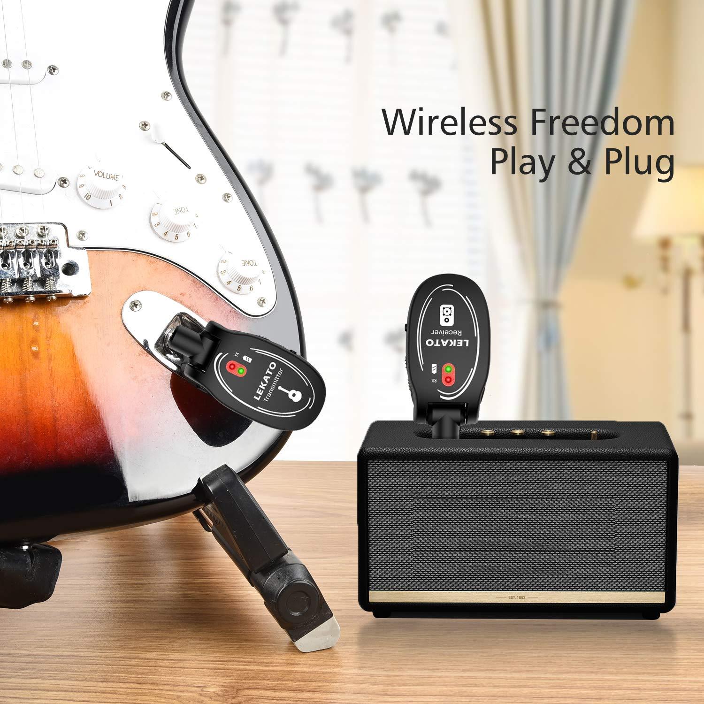 LEKATO Syst/ème de guitare sans fil Rechargeable 4 canaux Audio /Émetteur R/écepteur de guitare pour guitare /électrique Basse Violon