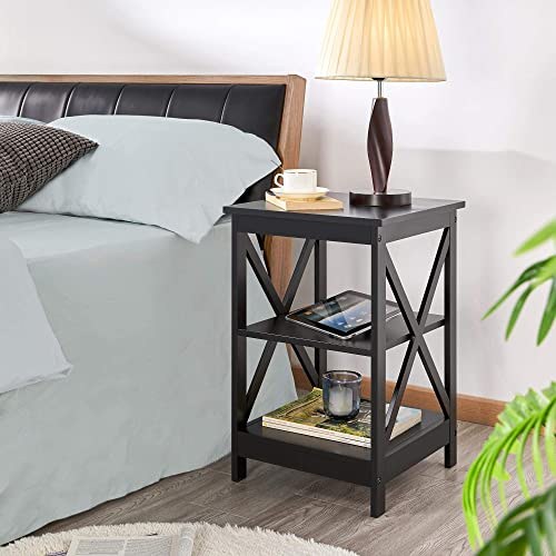 YAHEETECH Nightstand 3 Tier Bedside Table