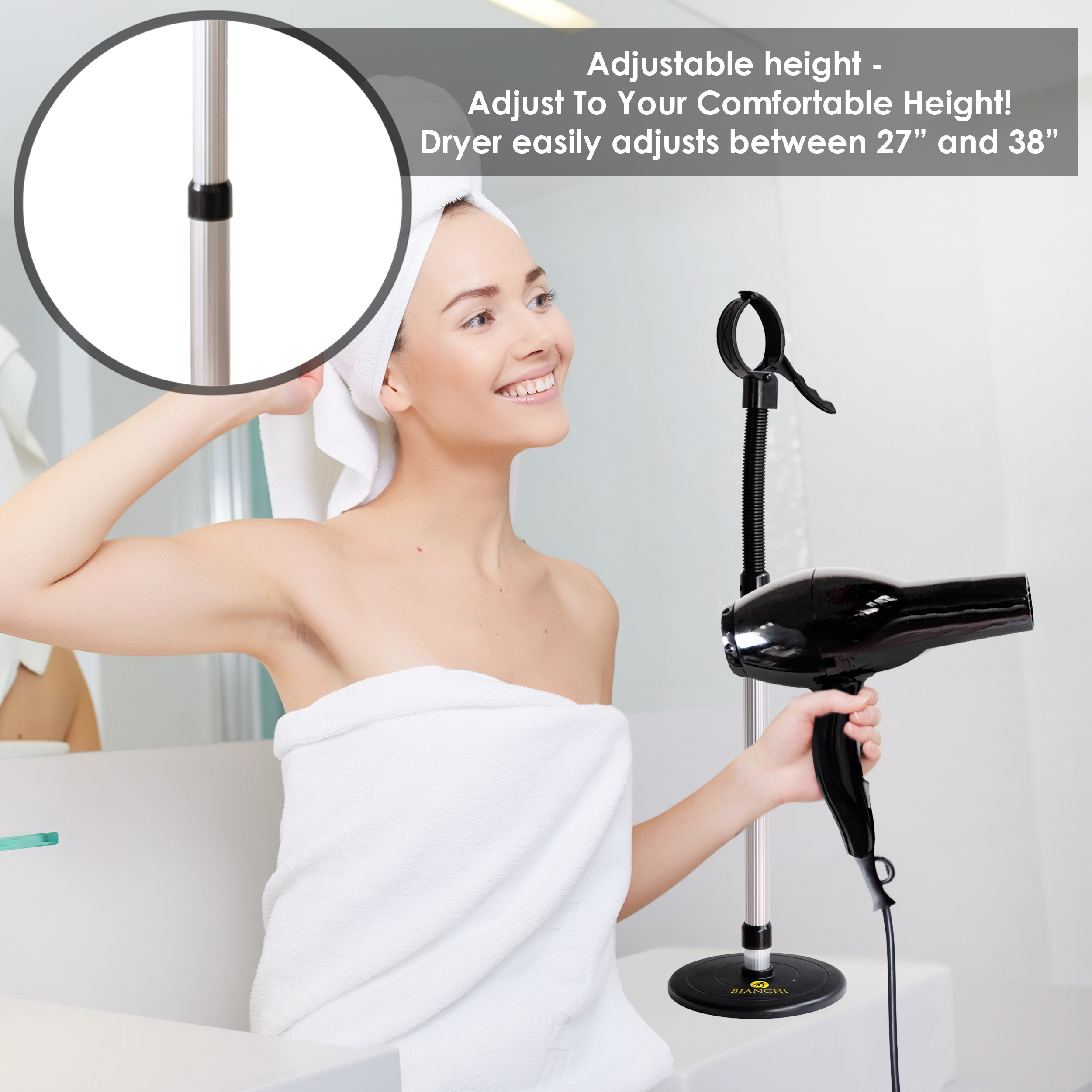 Luxury Hair Dryer Stand With Heavy Non-Tipping Base - Adjustable Height - Hands Free Blow Dryer Holder by Bianchi by Bianchi (Image #2)
