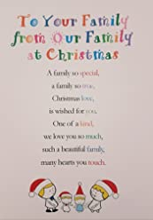 to Your Family from Our Family at Christmastime - Cute Christmas Luxury Greetings Cards by Clarabelle Cards 5 x 7 inches