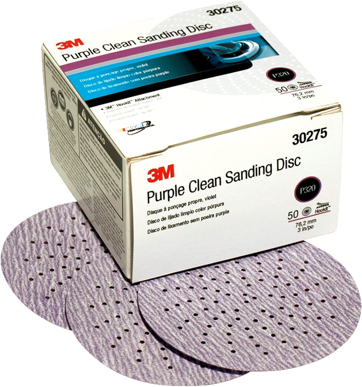 """3M 30275 Hookit Purple 3"""" P320 Grit Clean Sanding Disc"""