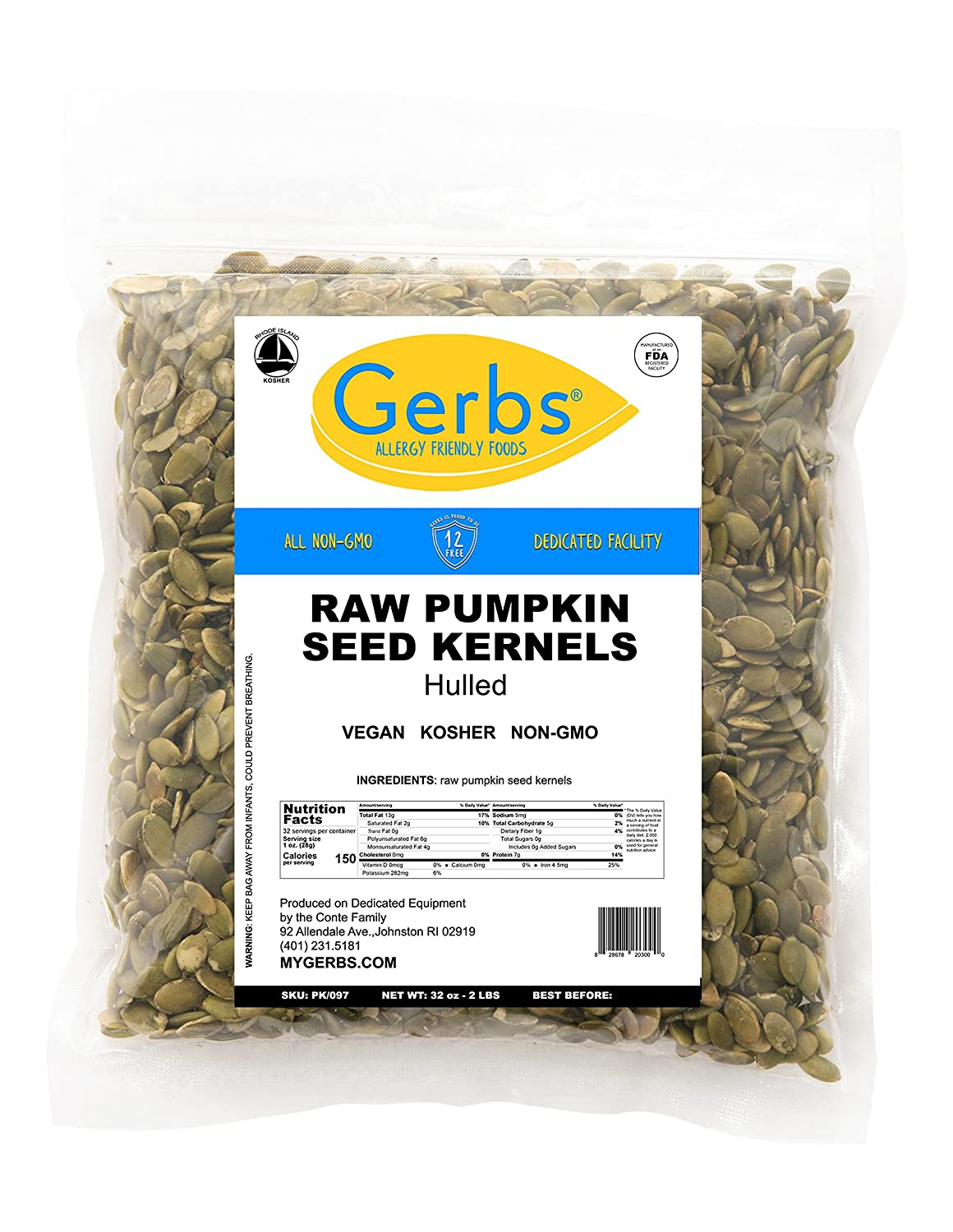 Gerbs Raw Pumpkin Seed Kernels, 2 LBS Closeable Bag, Top 14 Food Allergy Free