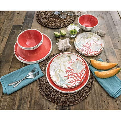 18 Piece Melamine Dinnerware Set Sealife Design (Coral Sea Shells)  sc 1 st  Amazon.com & Amazon.com | 18 Piece Melamine Dinnerware Set Sealife Design (Coral ...