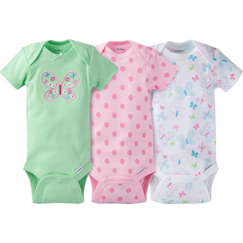 Gerber Baby Girl's 3-Pack Short Sleeve Bodysuit Pink 12M 22537318A GR2 12I