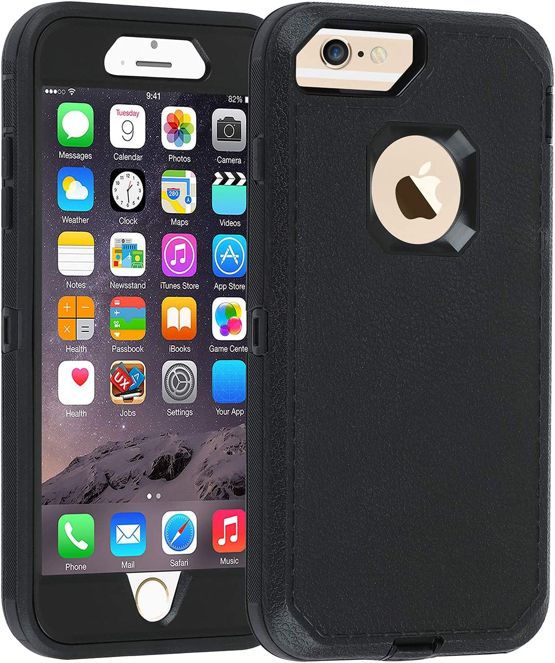 Amazon Com Co Goldguard Case For Iphone 6 6s Heavy Duty Litchi Pattern Series 3 In 1 Durable Cover With With Screen Bumper Shockproof Drop Proof Shell Case For Apple Iphone 6 6s 4 7 Inch Black