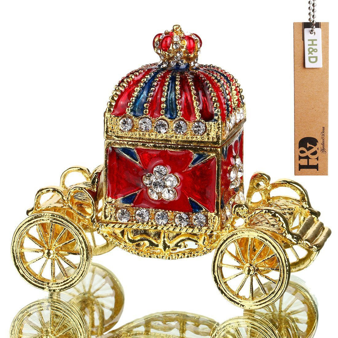 Hinged Trinket Box Hand-painted  Decorated Bejeweled Box Collectible (Crown carriage Trinket box)