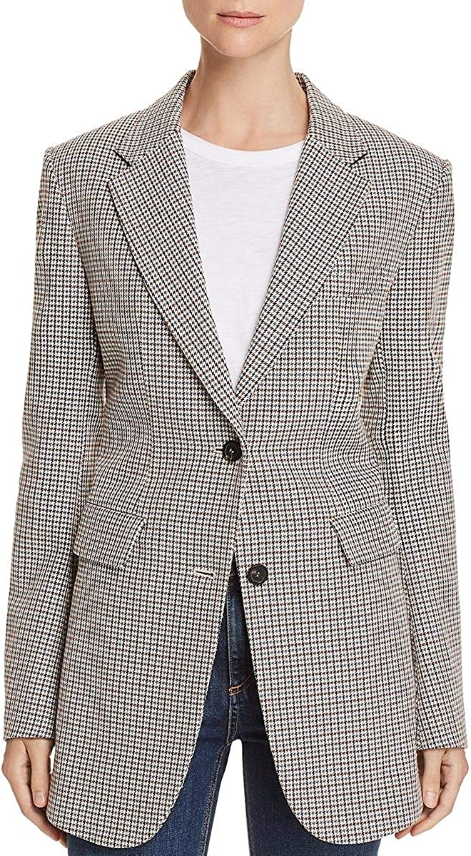Theory Womens Office Wear Printed Two-Button Blazer