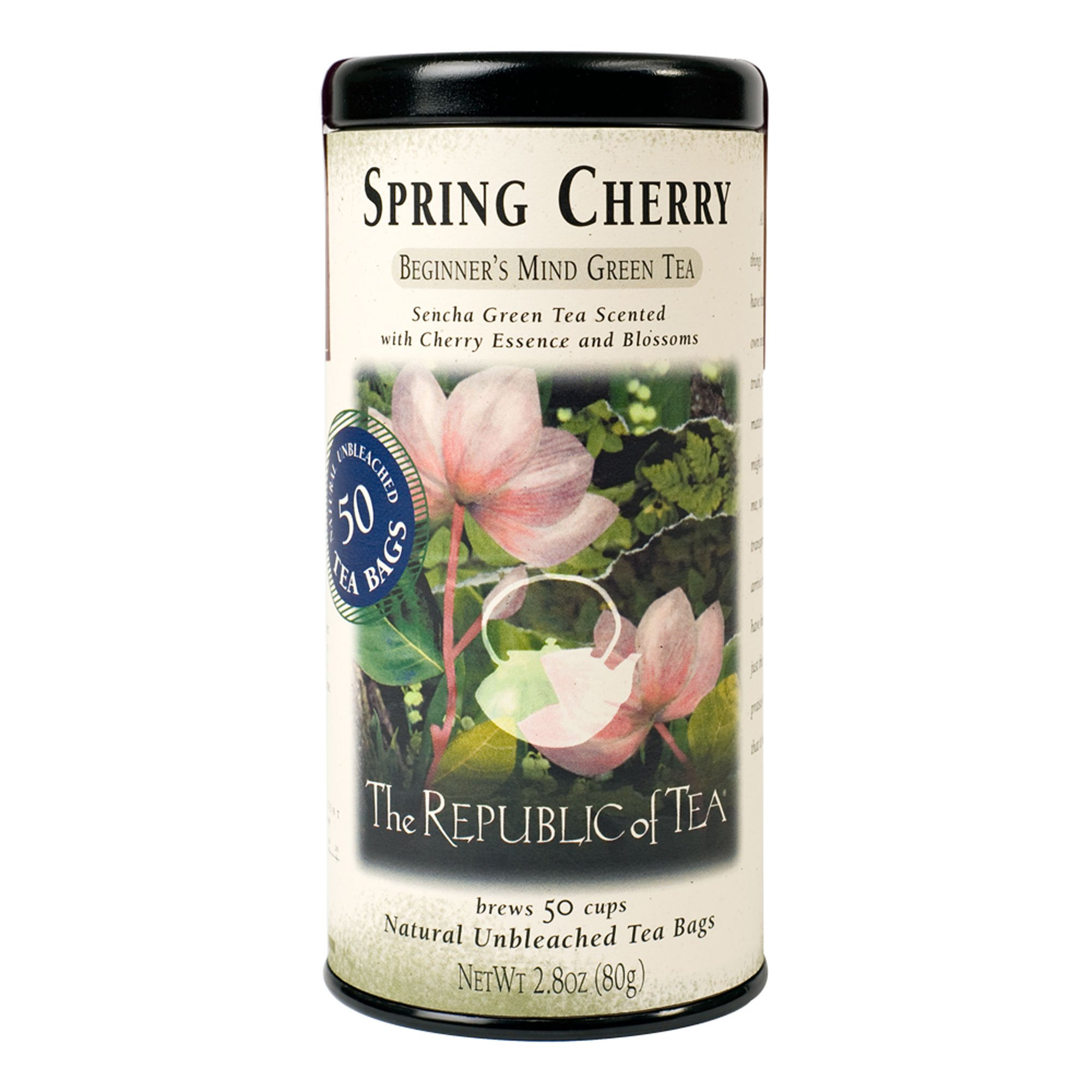 The Republic of Tea Spring Cherry Green Tea, 50 Tea Bag Tin