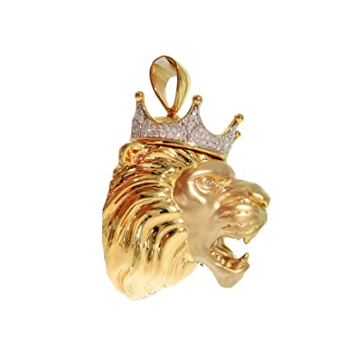 e19f0e1deb3 Image Unavailable. Image not available for. Color: Custom Made Heavy  Genuine 14K Yellow Gold Prong Diamond Crown Lion ...