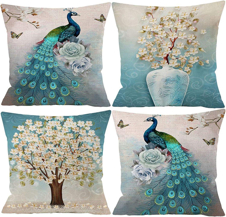 Guhoo Set of 4 Pcs Peacock Print Cushion Cover Durable Cotton Linen Throw Pillow Case Home Decors 18