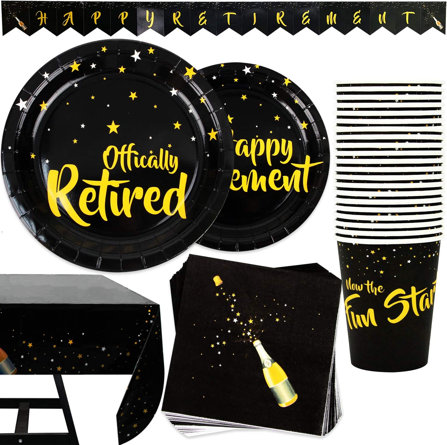 102 Piece Happy Retirement Party Supplies Set Including Plates, Cups, Napkins, Tablecloth and Banner, Serves 25