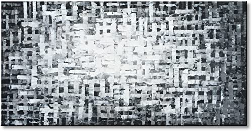 Konda Art -Framed Hand Painted Modern Abstract Oil Painting On Canvas Black and White Home Decorative Wall Art Textured Grey Color Gift Artwork Stretched ready to hang Framed 48 W x 24 H