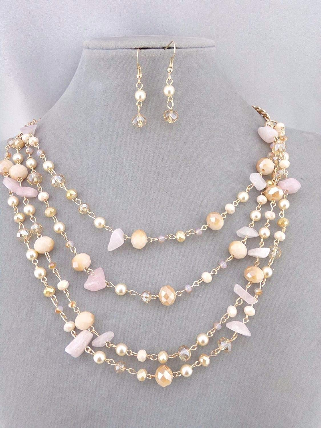 Layered Gold with Peach Pink Pearl Bead Necklace Set Fashion Jewelry New #ID-203