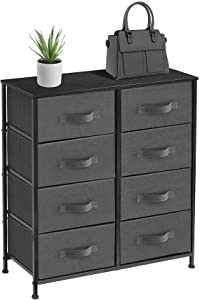 Sorbus Dresser with 8 Drawers - Furniture Storage Chest Tower Unit for Bedroom, Hallway, Closet, Office Organization - Steel Frame, Wood Top, Easy Pull Fabric Bins (Black/Charcoal)