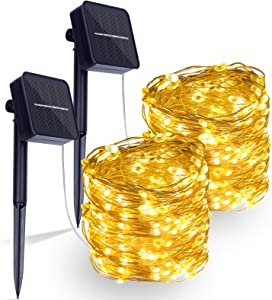 2Pack Solar String Lights,Each 42ft 128 LEDs Large Lamp Beads Solar Lights Outdoor Waterproof Copper Wire 8 Modes Fairy Lights for Garden Party Wedding Yard Home Patio Decoration