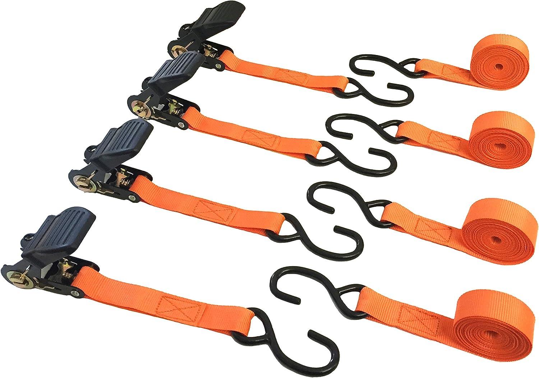 1500 Lb Break Strength Mann Ratchet Tie Downs Straps with S-Hooks 4-Pack Set 1-Inch x 15-Feet 500 Lbs Load Cap